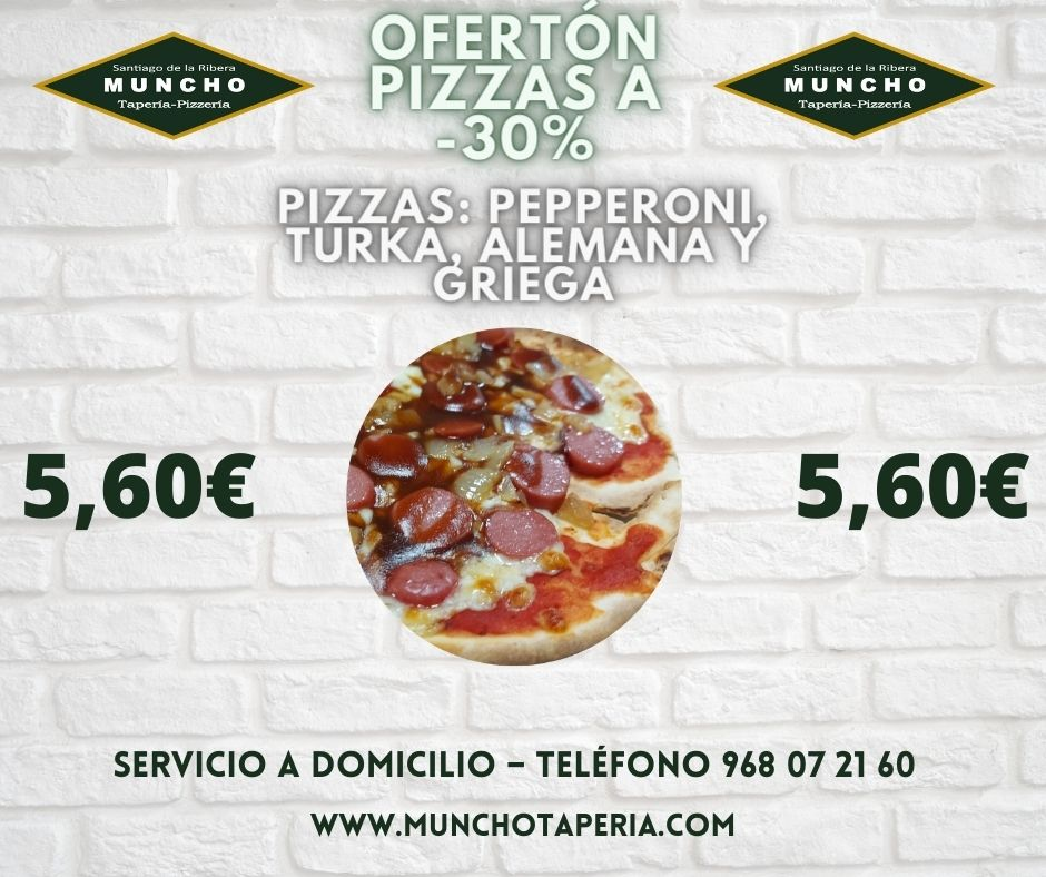 ¡Ofertón -30% en pizzas de MunchoTaperia.com