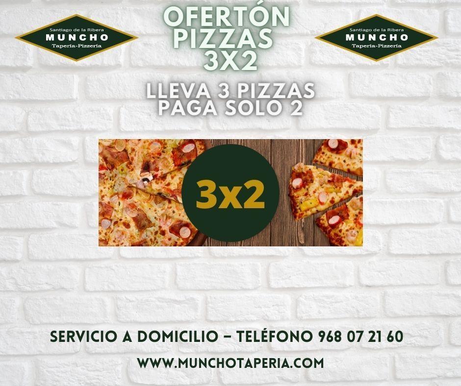 Oferta de la semana: 3×2 en pizzas Munchotaperia.com