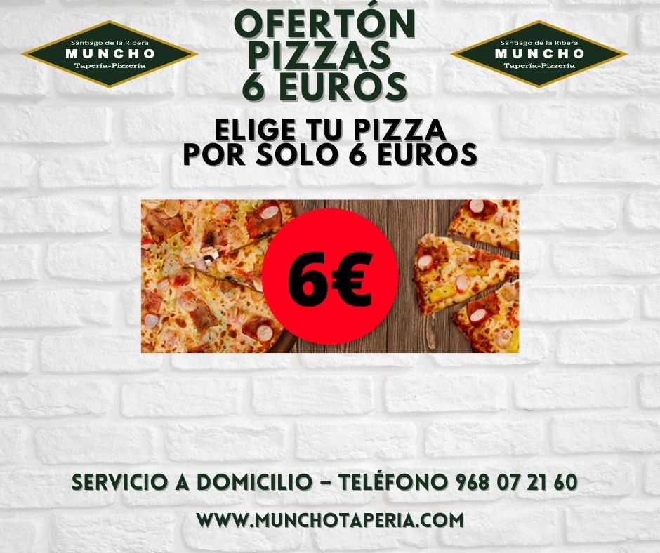 Ofertón pizzas a 6 euros en MunchoTaperia.com